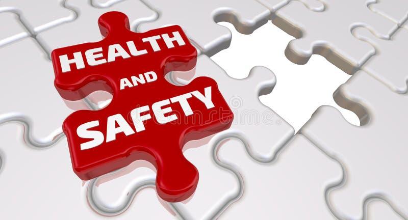 Hälsa och säkerhet Inskriften på den saknade beståndsdelen av pusslet royaltyfri illustrationer