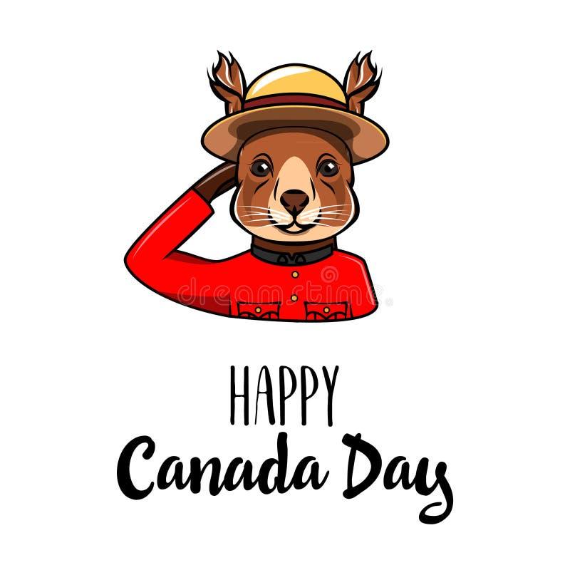 Hälsning för ekorreKanada dag kanadensare monterad poliskunglig person Lycklig Kanada dagtext vektor vektor illustrationer