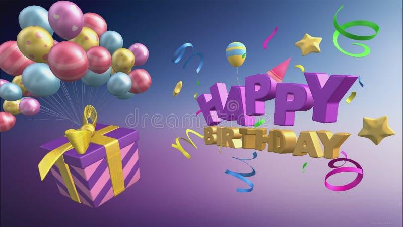Hälsning för lycklig födelsedag med ballonger och gåvor i formatet 3d royaltyfri illustrationer