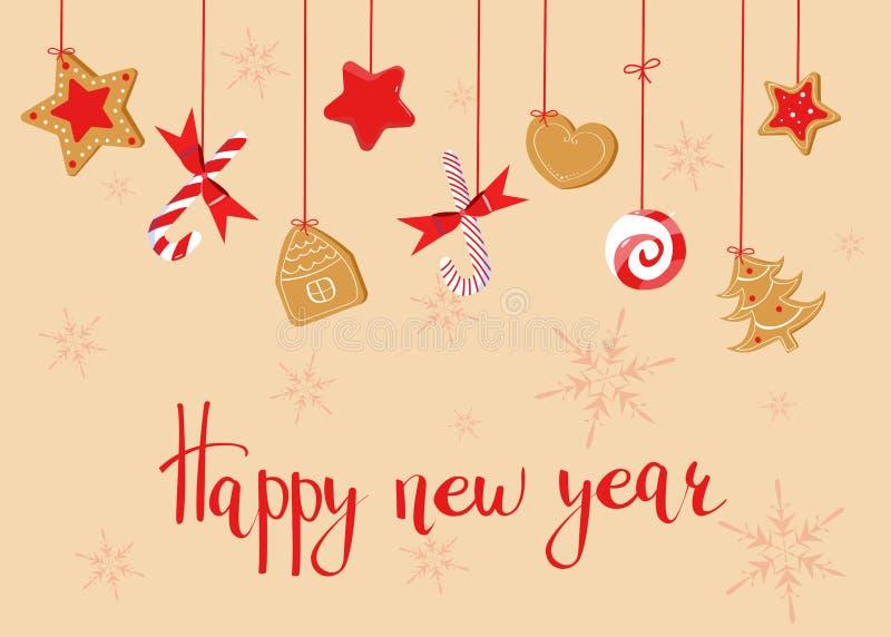 Hälsning för lyckligt nytt år med sötsaker - ljust rödbrun kakor och klubbor royaltyfri illustrationer