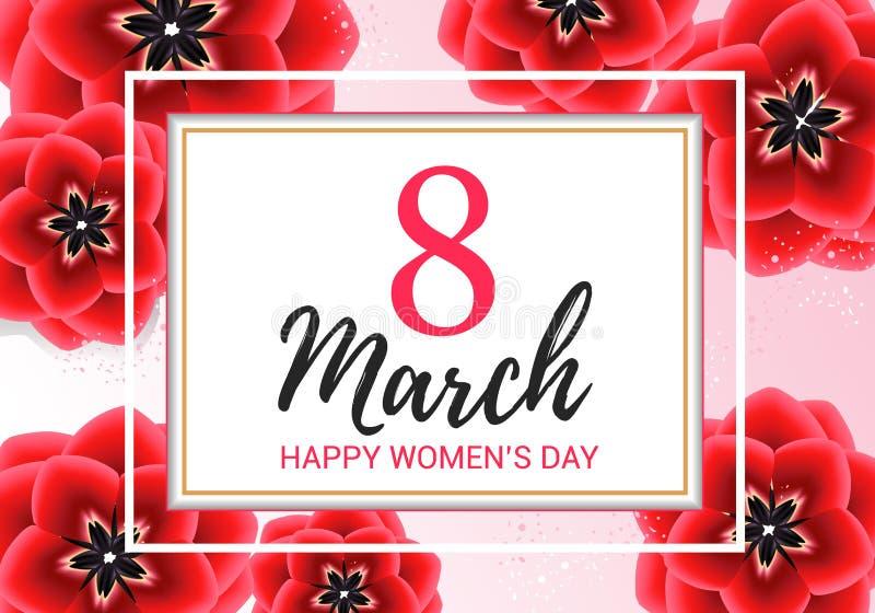 8 hälsning för marsch med röda blommor på rosa bakgrund Illustration för vektor för design för kort för gåva för lyckliga kvinnor stock illustrationer