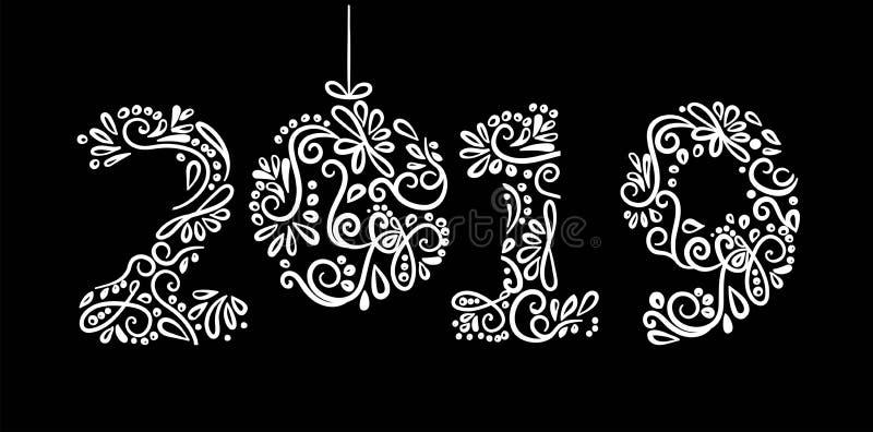 hälsning för nytt år 2019, inskriften av frostiga ismodeller av ris och snöflingor som isoleras med julboll och en virvel p vektor illustrationer