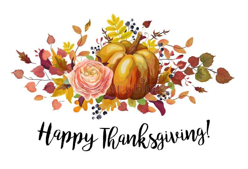 Hälsning för stil för vattenfärg för lycklig tacksägelsevektor blom- stock illustrationer