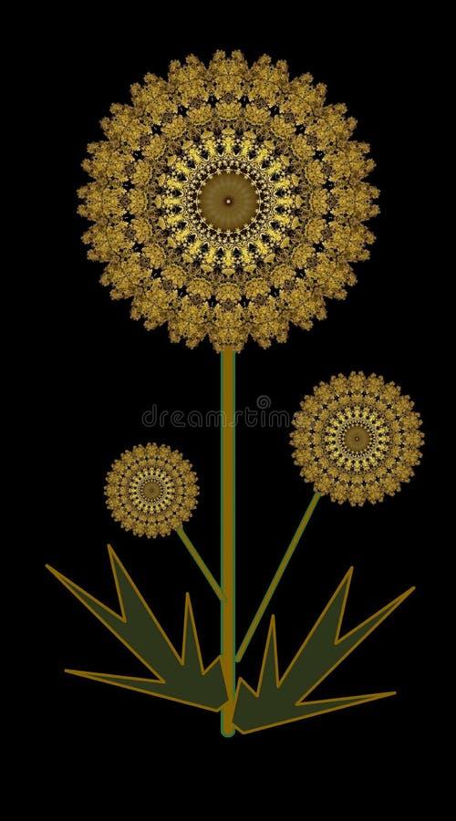 Hälsningar eller födelsedagkort med den guld- blomman vektor illustrationer