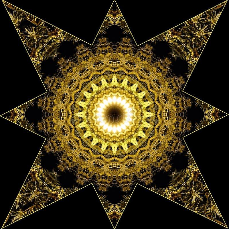Hälsningar eller xmas-kort med den guld- stjärnan vektor illustrationer