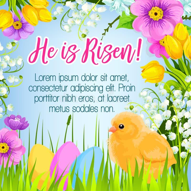 Hälsningar för ägg för kort för påskvektoraffisch påsk- royaltyfri illustrationer