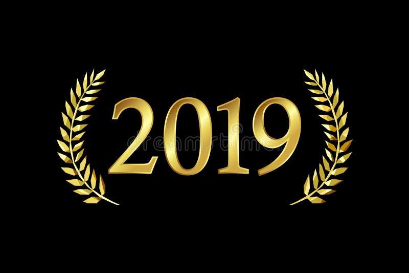 2019 hälsningar för en xmas för lyckligt nytt år vektor illustrationer
