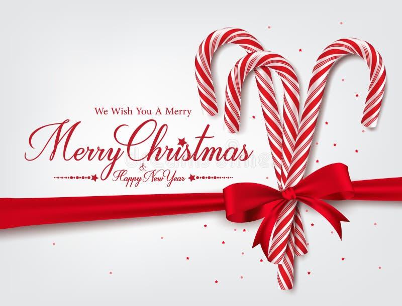 Hälsningar för glad jul i realistisk rotting för godis 3D vektor illustrationer