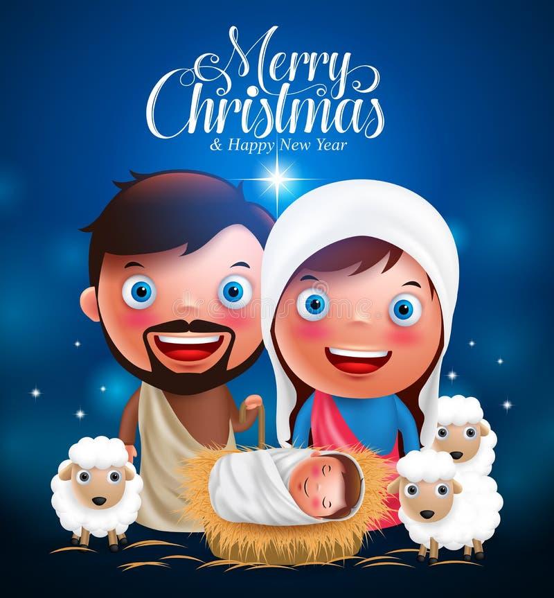 Hälsningar för glad jul med jesus den bördiga krubban, belen med joseph och mary stock illustrationer