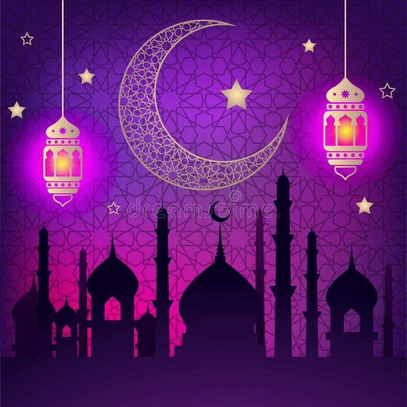 Hälsningar för Ramadankareemvektor planlägger månen med lyktan stock illustrationer