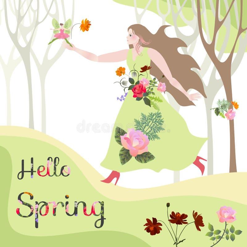 Hälsningar fjädrar Blomma fen ankom till den härliga kvinnan i blom- klänning stock illustrationer