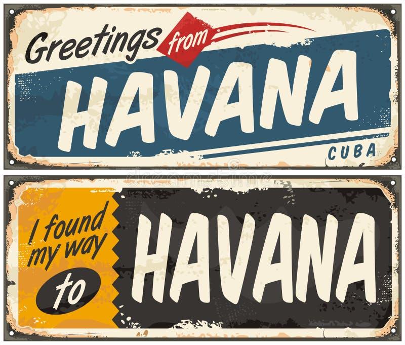 Hälsningar från Havana Cuba stock illustrationer