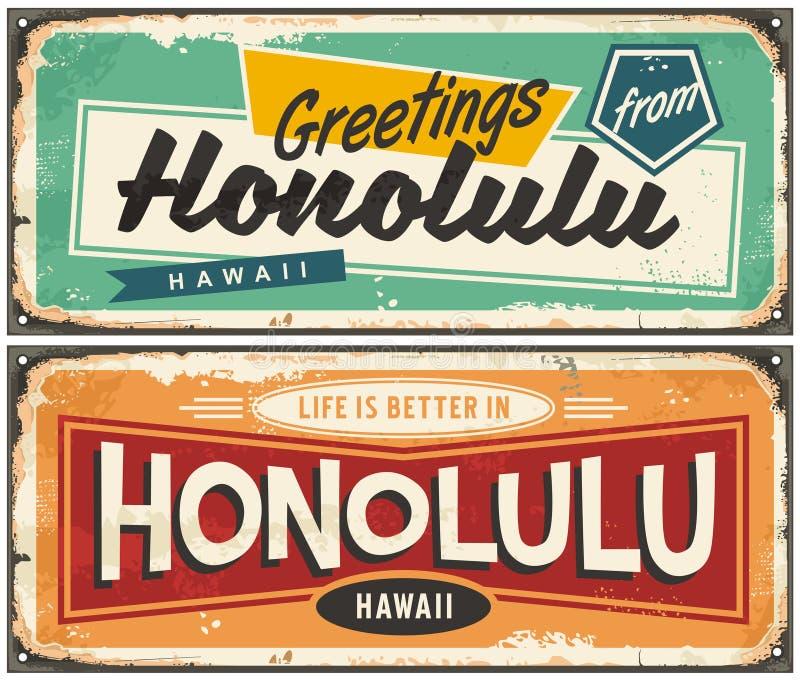 Hälsningar från Honolulu unik retro vykortdesign royaltyfri illustrationer