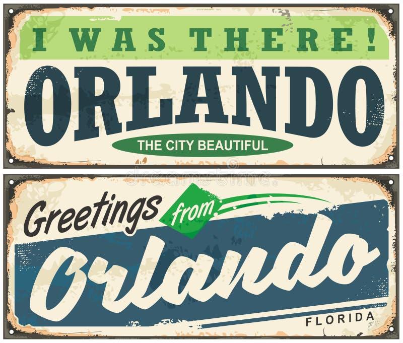 Hälsningar från Orlando Florida tappningskylt stock illustrationer