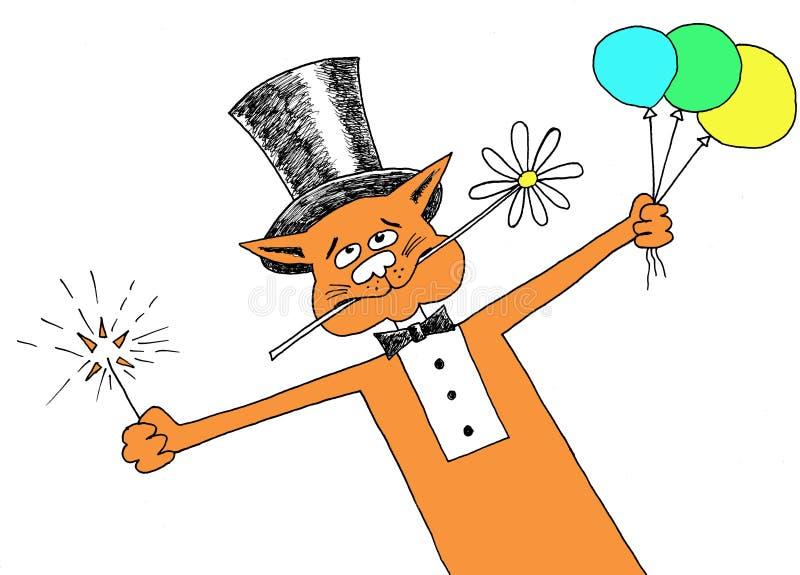 Hälsningar från röd katt royaltyfri illustrationer