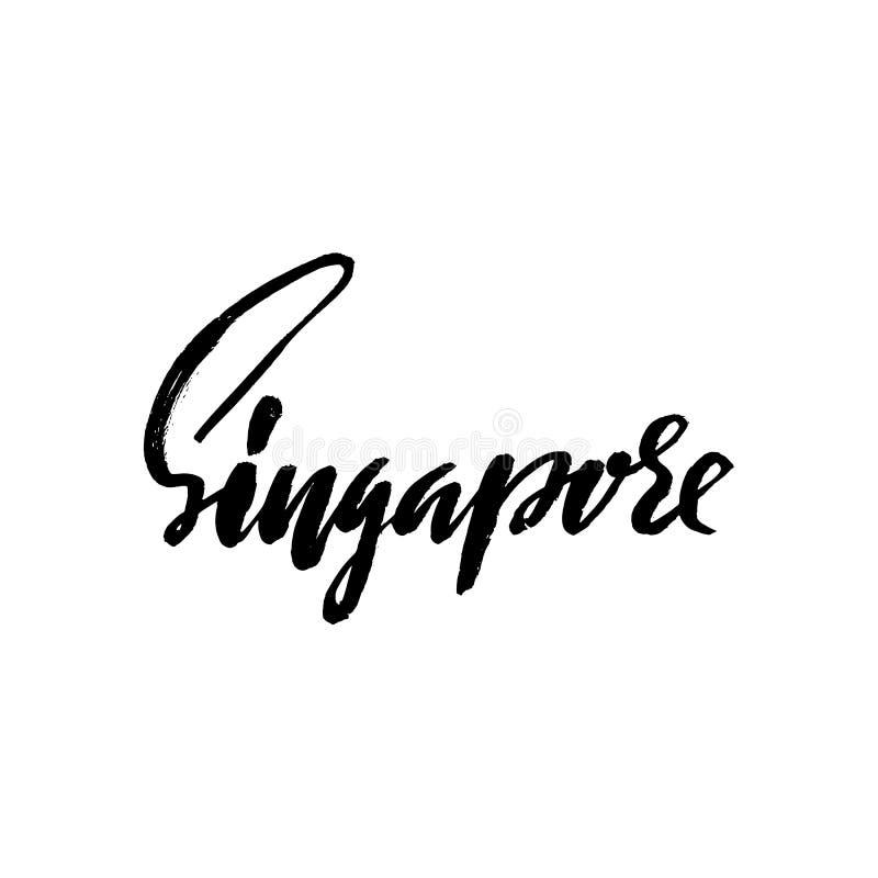 Hälsningar från Singapore Hälsningkort med typografi, bokstäverdesign Hand dragen torr borstekalligrafi, text för loppkort, vektor illustrationer