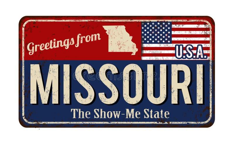 Hälsningar från tecken för metall för Missouri tappning rostigt vektor illustrationer