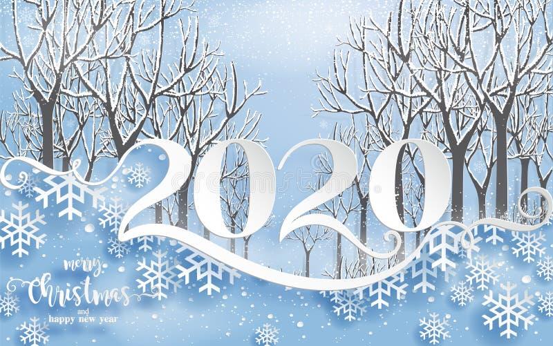 Hälsningar och lyckligt nytt år 2020 för glad jul royaltyfri illustrationer