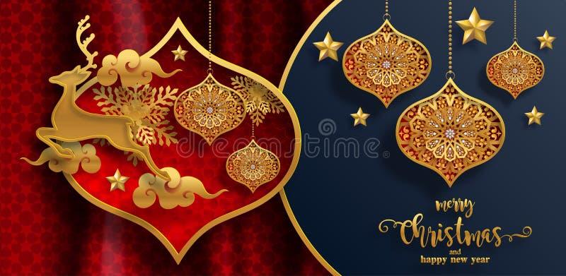 Hälsningar och lyckligt nytt år 2020 för glad jul stock illustrationer