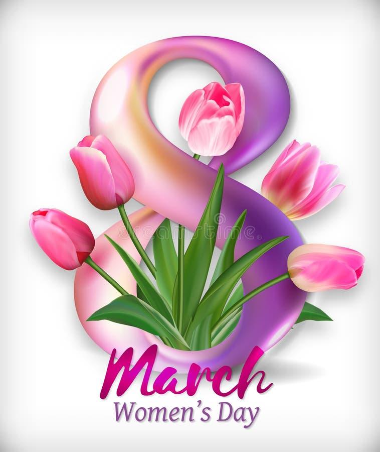 Hälsningbaner med det gerberablomman och bandet 8 mars - internationella kvinnors dag Vektorillustration EPS10 stock illustrationer