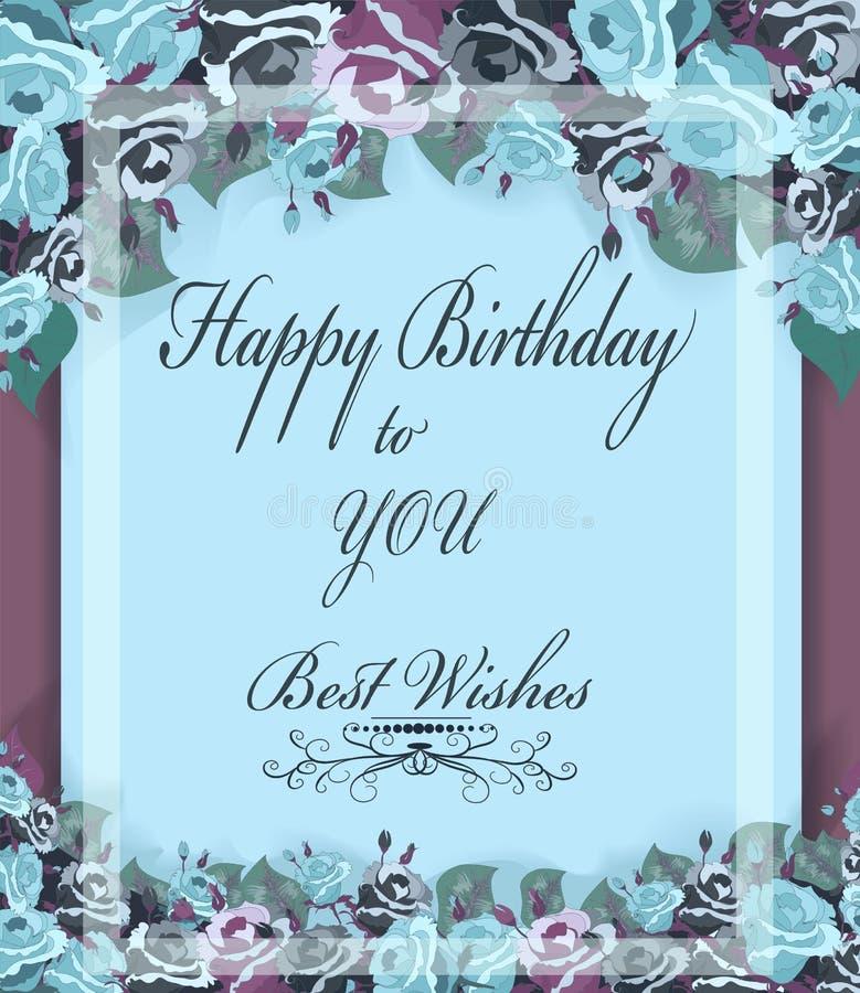 Hälsningfödelsedagkort med pastellfärgade rosor, tappningram stock illustrationer