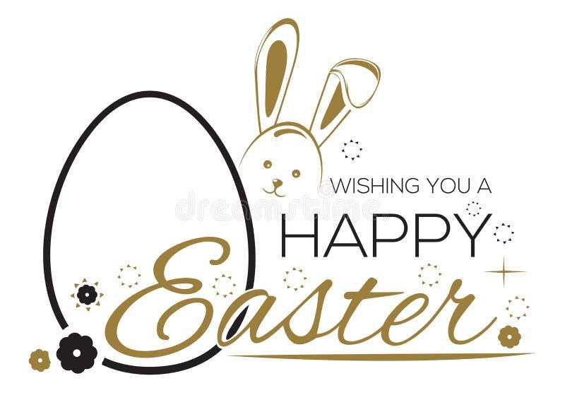 Hälsninginskrift med påskkaninen och påskäggen Önska dig en lycklig påsk royaltyfri illustrationer