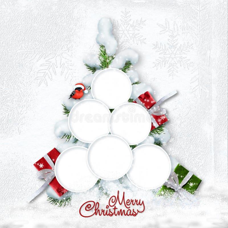 Hälsningjulkort med det snöig trädet och ramar för familj royaltyfri fotografi