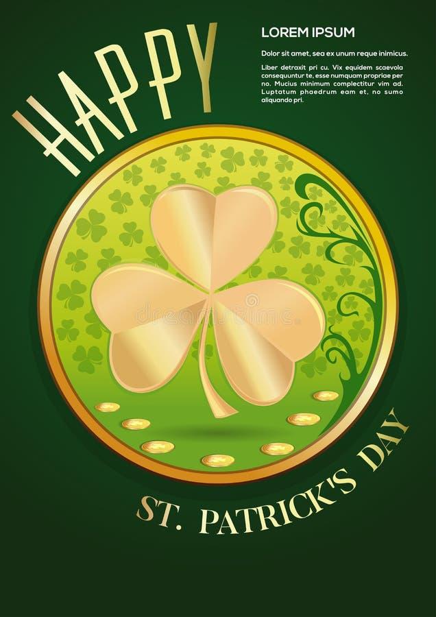 Hälsningkort, affischdesign för dag för St Patricks vektor illustrationer