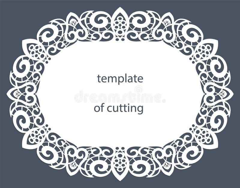 Hälsningkort av den ovala formen med en dekorativ gräns på kanten, doily av papper under kakan, mall för att klippa som gifta sig royaltyfri illustrationer