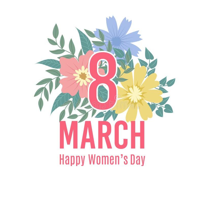 Hälsningkort av 8 marsch Lycklig kvinnors dagbakgrund med vårblommor Informationsbladvektormall med blom- stock illustrationer