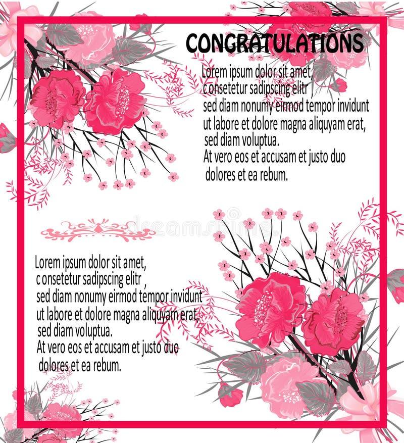 Hälsningkort av rosa vallmo, tappning vektor illustrationer