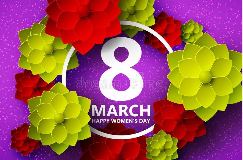 Hälsningkort, bakgrund, origami med skuggor för mars 8 Mångfärgade blommor och en rund ram i mitten vektor illustrationer