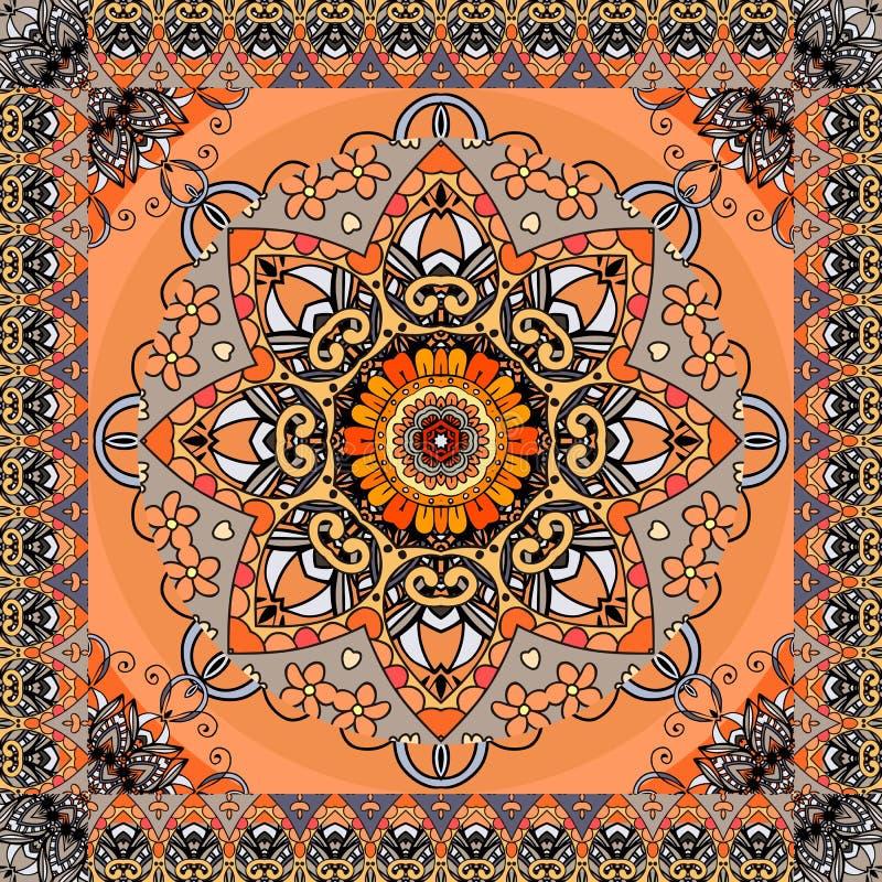 Hälsningkort eller tappningbandanatryck med den stiliserade solmandalaen och dekorativ ram på orange bakgrund etnisk modell stock illustrationer