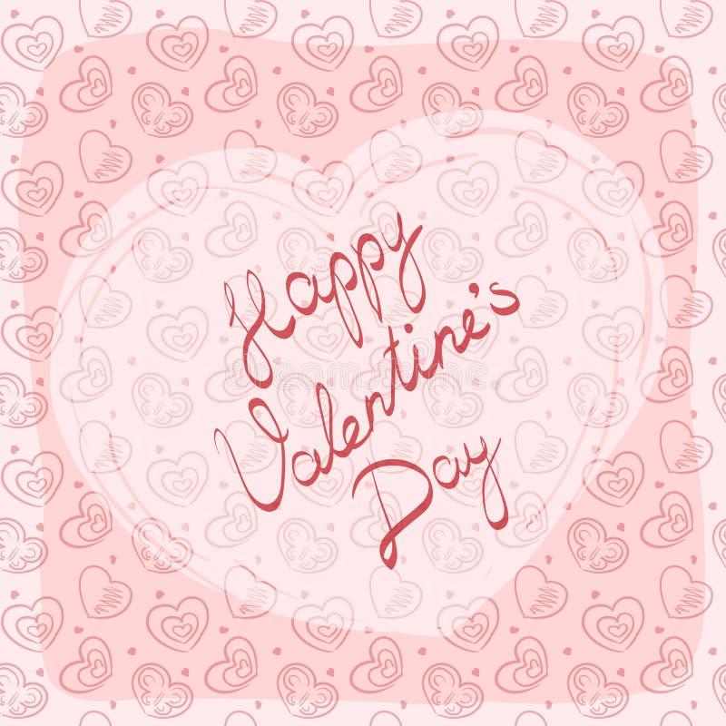 Hälsningkort, etikett eller klistermärke med för valentin` s för handskriven inskrift lycklig dag royaltyfri foto
