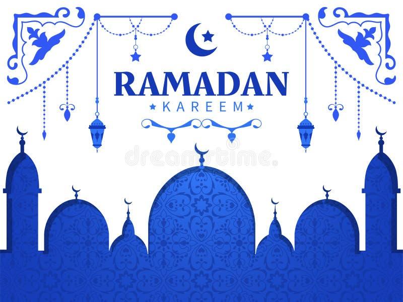 Hälsningkort för den heliga månaden av Ramadan stock illustrationer