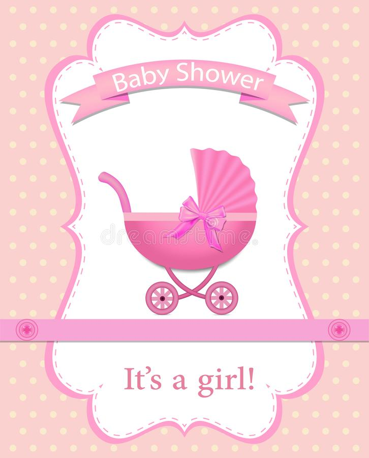 H?lsningkort f?r en flicka p? baby shower royaltyfri illustrationer