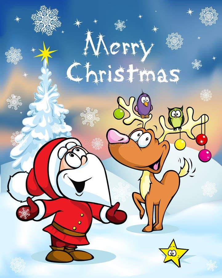Hälsningkort för glad jul royaltyfri illustrationer