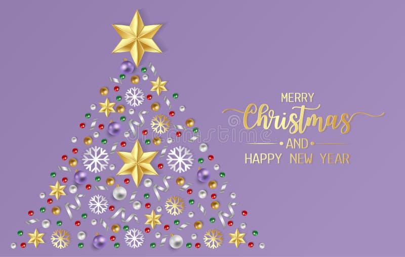 Hälsningkort för glad jul, affisch med röda, guld- och gröna bollar, skinande bandandsnowflinga på purpurfärgad bakgrund stock illustrationer