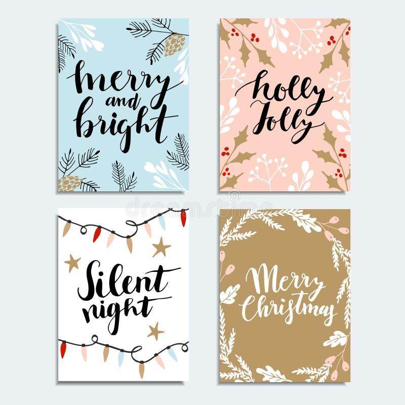 Hälsningkort för glad jul, inbjudan royaltyfri illustrationer