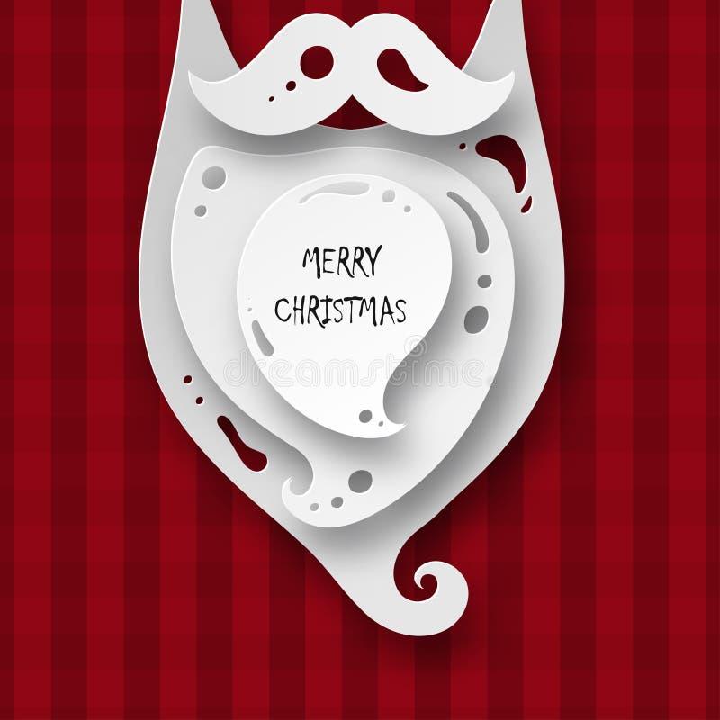 Hälsningkort för glad jul med den pappers- hipsterSanta Claus beaen royaltyfri illustrationer