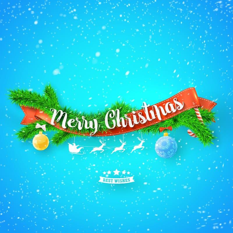 Hälsningkort för glad jul med det röda bandet, xmas-trädet och snö på blå bakgrund stock illustrationer