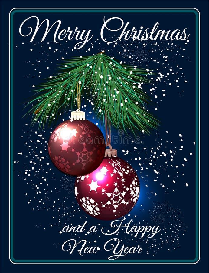 Hälsningkort för glad jul med röda fröhus och filialen av gran stock illustrationer