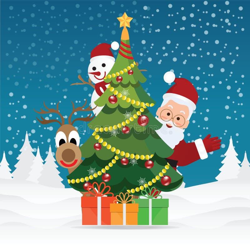 Hälsningkort för glad jul med jul Santa Claus royaltyfri illustrationer