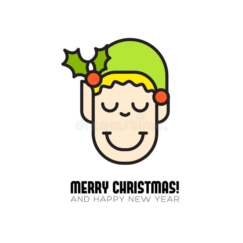 Hälsningkort för glad jul med tecknad filmälvasymbolen stock illustrationer