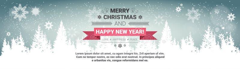 Hälsningkort för glad jul och för begreppsvinter för lyckligt nytt år för ferier över genomskinliga Forest Background royaltyfri illustrationer