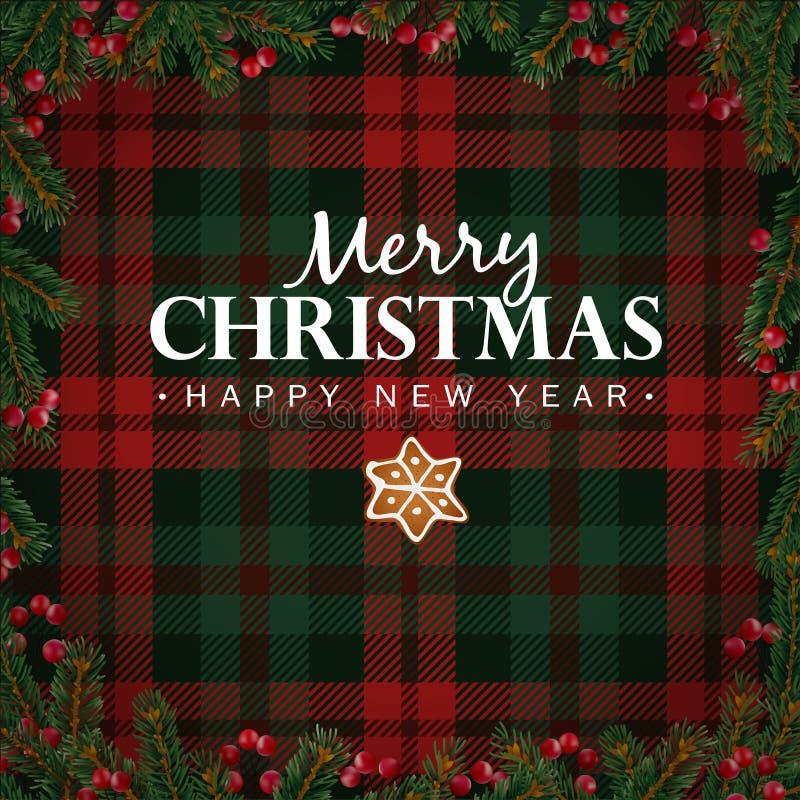 Hälsningkort för glad jul och för lyckligt nytt år, inbjudan Julgranfilialer, röda bär gränsar och pepparkakastjärnan Wh royaltyfri illustrationer