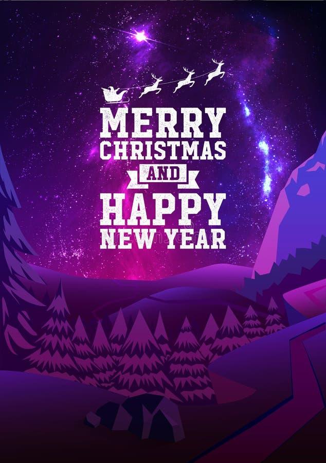 Hälsningkort för glad jul och för lyckligt nytt år med skinande stjärnor i härliga natthimlar, vektor för xmas-trädskog stock illustrationer