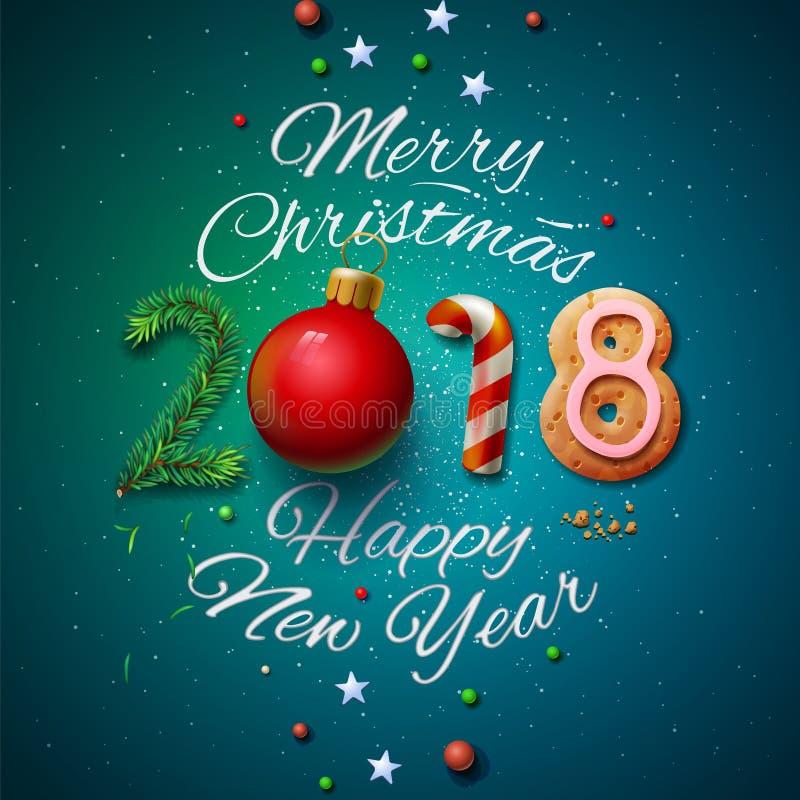 Hälsningkort 2018 för glad jul och för lyckligt nytt år royaltyfri illustrationer