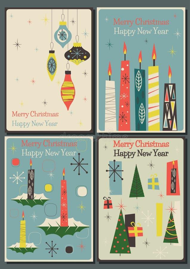 Hälsningkort för glad jul och för lyckligt nytt år vektor illustrationer