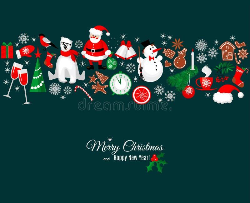 Hälsningkort för glad jul och för lyckligt nytt år i retro stil royaltyfri illustrationer